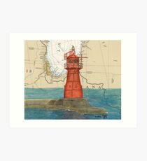 Gary Harbor Lighthouse IN Nautical Chart Cathy Peek Art Print