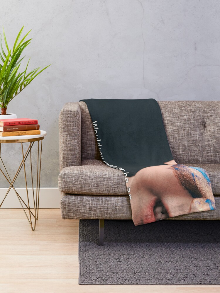 Alternate view of Would You Rather Be An Unknown Superhero or a Famous Villain Throw Blanket
