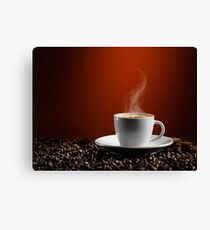 Cup of Coffe Latte on Coffee Beans art photo print Canvas Print