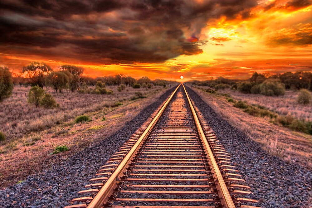 Quot Train Track To Sunset Quot By Chris Brunton Redbubble
