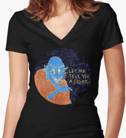 The Demon Storyteller Women's Fitted V-Neck T-Shirt