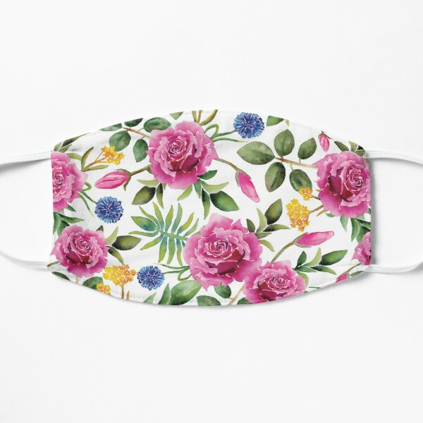 Watercolor Roses - Pink, Blue, Yellow & Green Floral/Botanical Pattern Mask