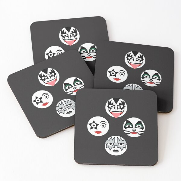 Kiss Band Fan Art | Vector Face Pattern Coasters (Set of 4)