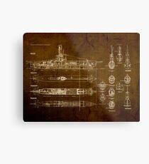 Submarine Blueprint Metal Print