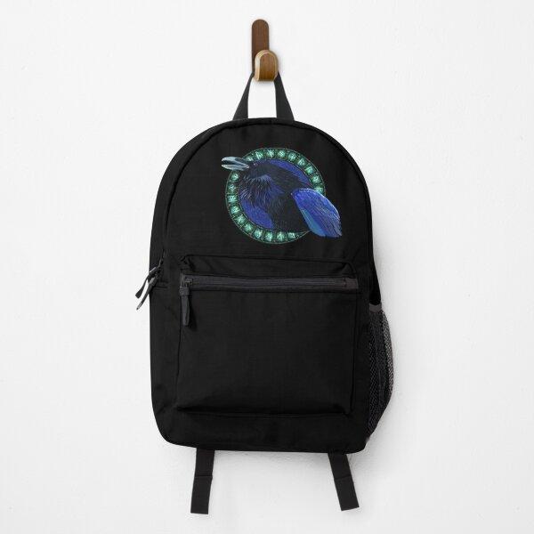 Blue Crow and Green Runes - Scandinavian Vikings Backpack