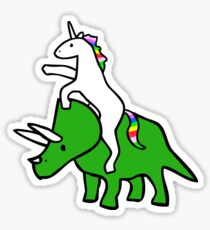 Unicorn Riding Triceratops Sticker