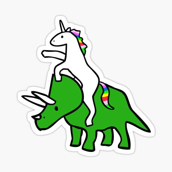 Unicorn Riding Triceratops Sticker