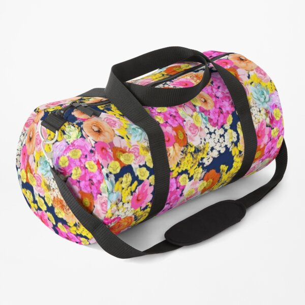 Summer Bright Neon Floral Print in Navy  Duffle Bag