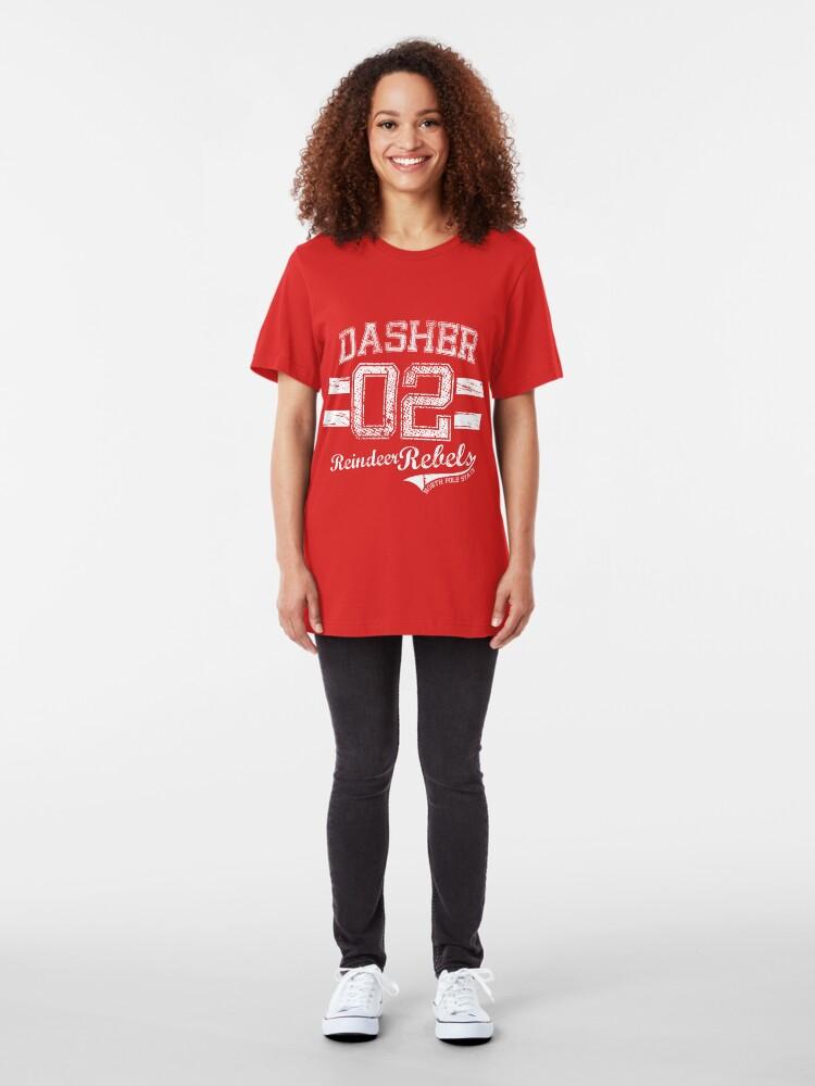 Alternate view of Dasher Reindeer Rebels Slim Fit T-Shirt