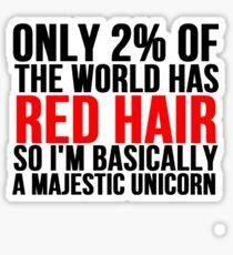 RED HAIR MAJESTIC UNICORN Sticker