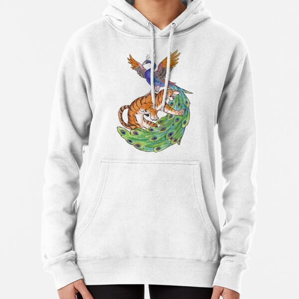 Tiger and Peacock Pullover Hoodie