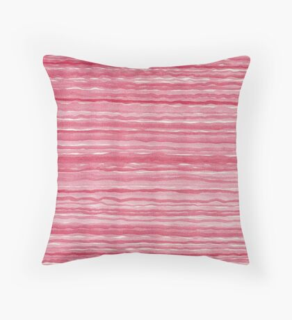 Red Watercolor Stripes Modern Abstract Pattern Throw Pillow