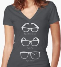 Slightly Larger Glasses Alternate Women's Fitted V-Neck T-Shirt