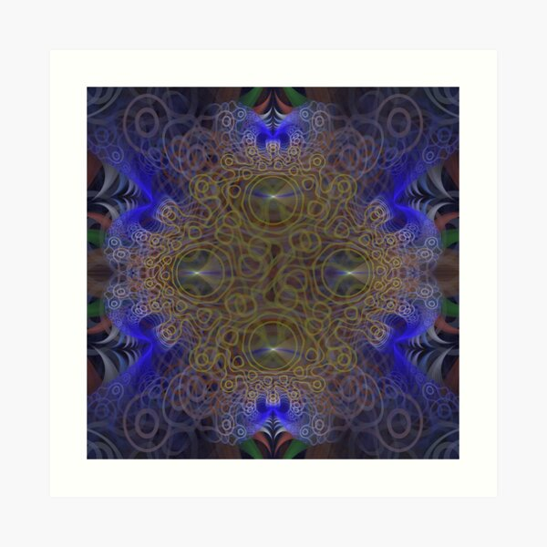 Squiggly Circle Yellow and Blue Abstract Fractal Art Art Print