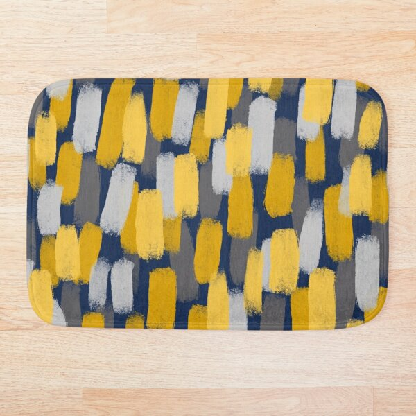 Abstract Grey and Mustard Yellow Paint Brush Effect on Navy Blue  Bath Mat