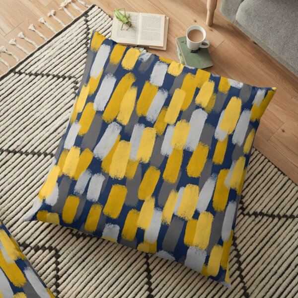 Abstract Grey and Mustard Yellow Paint Brush Effect on Navy Blue  Floor Pillow