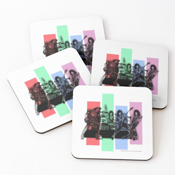 Kiss Band Playing Fan Art | Minimal Vector Style Coasters (Set of 4)