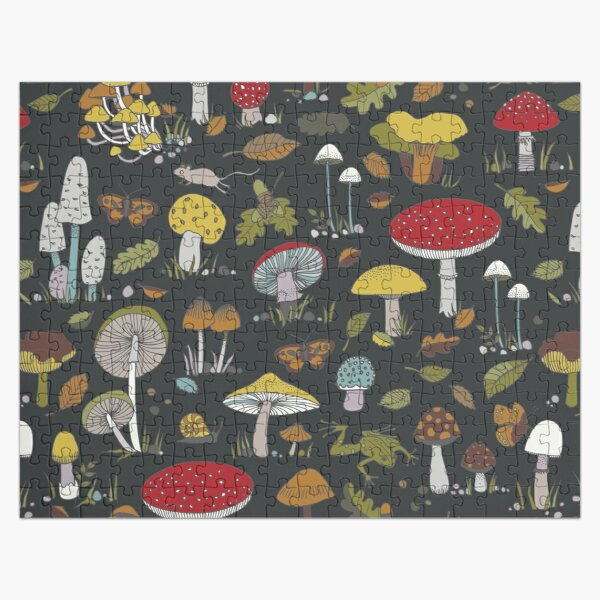 Forest Floor - fun fungus pattern by Cecca Designs Jigsaw Puzzle
