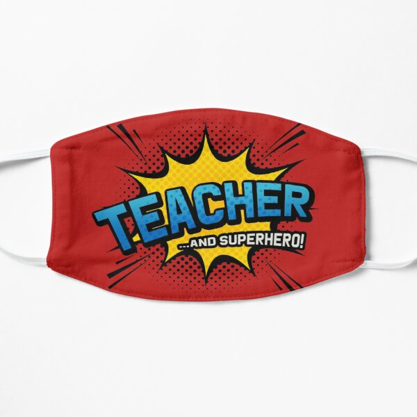 Teacher & Superhero - Red Comic Book Style Flat Mask