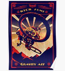 retro mountain bike poster: kick some gravity ass Poster