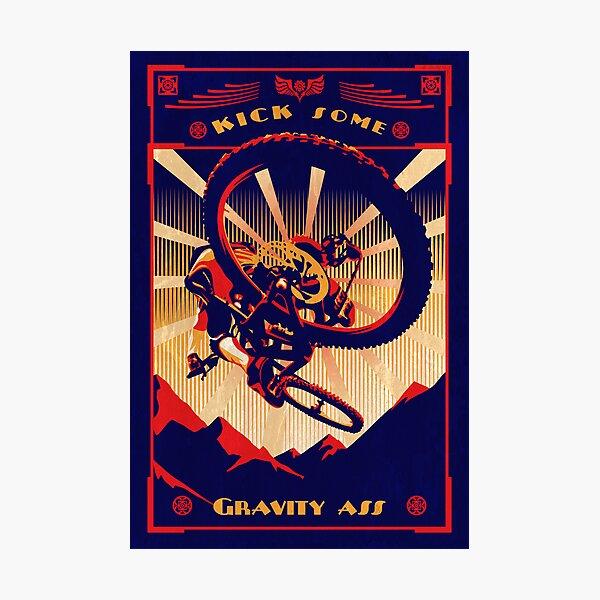 retro mountain bike poster: kick some gravity ass Photographic Print