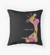 Felted Giraffe with Purple Spots  Throw Pillow
