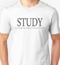 Study The act of texting, eating, and watching TV with an open textbook nearby. T-Shirt