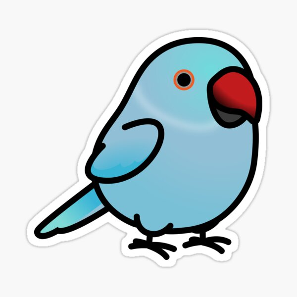 Chubby Blue Indian Ringneck Parakeet - Female Sticker