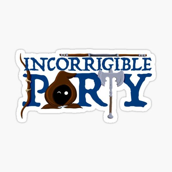 The Incorrigible Party Logo - no outline Sticker