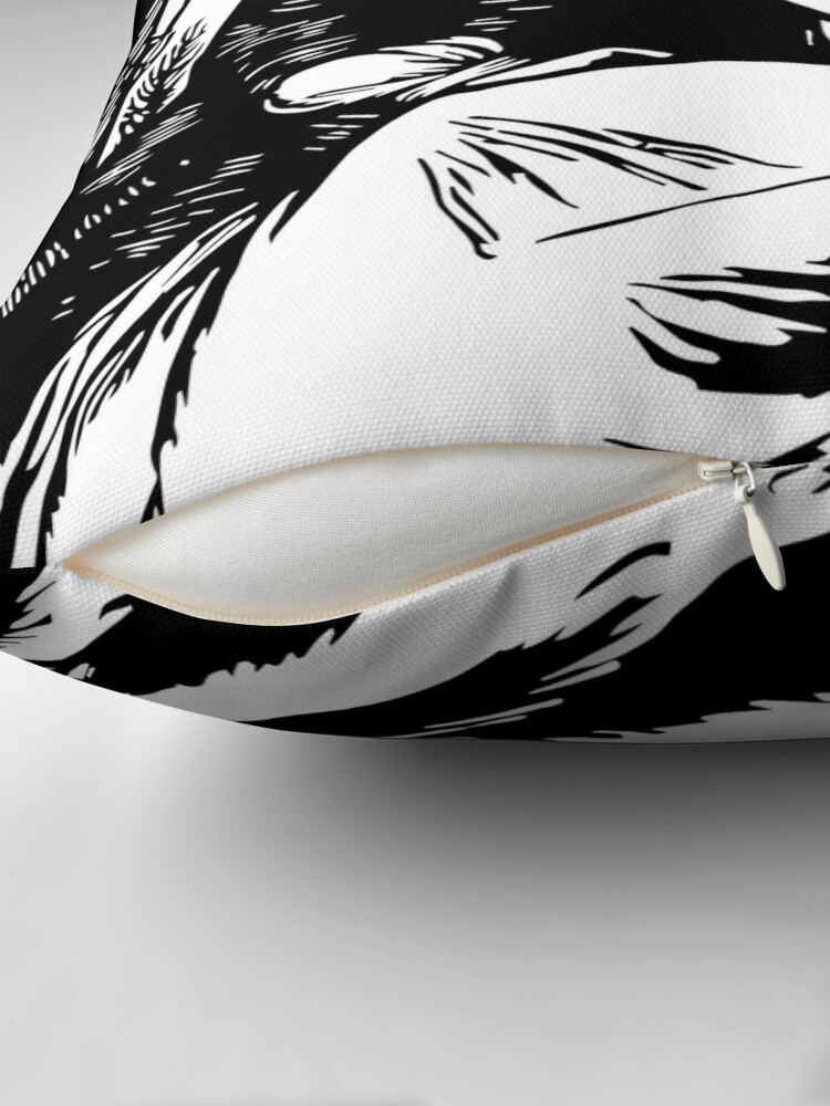 Coussin ''Gravure romantique, noir et blanc': autre vue