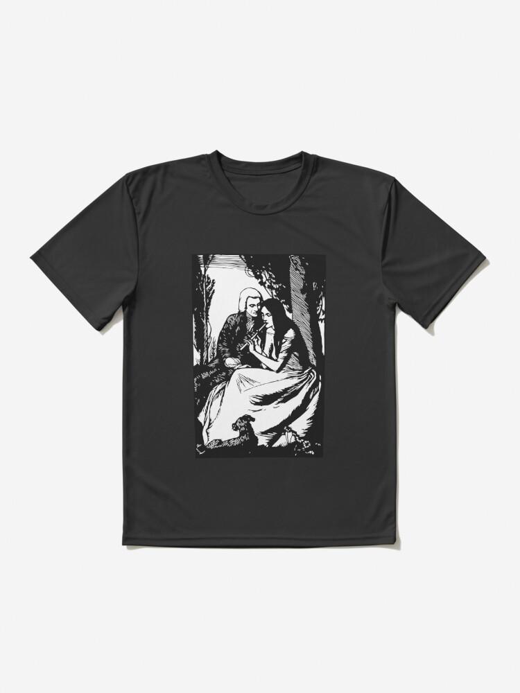 T-shirt respirant ''Gravure romantique, noir et blanc': autre vue