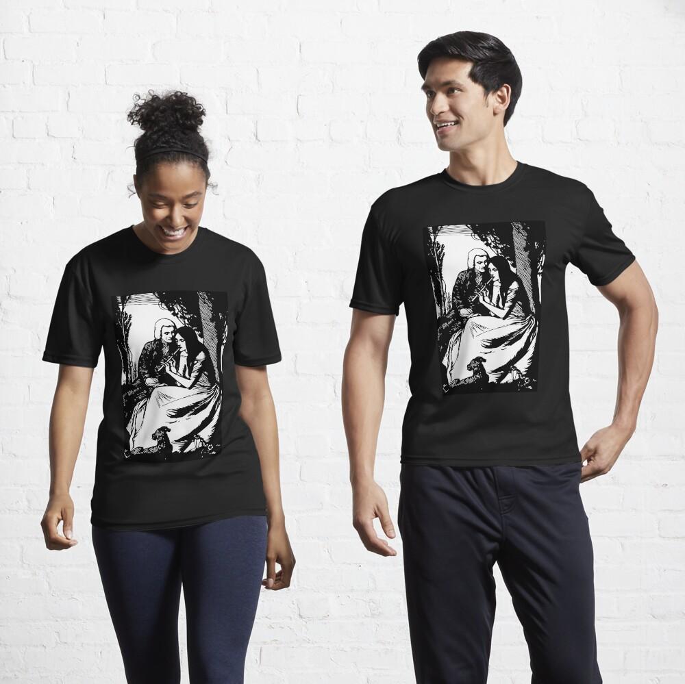 T-shirt respirant «Gravure romantique, noir et blanc»