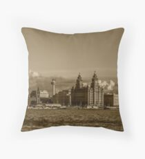 Liverpool skyline sepia toned Throw Pillow