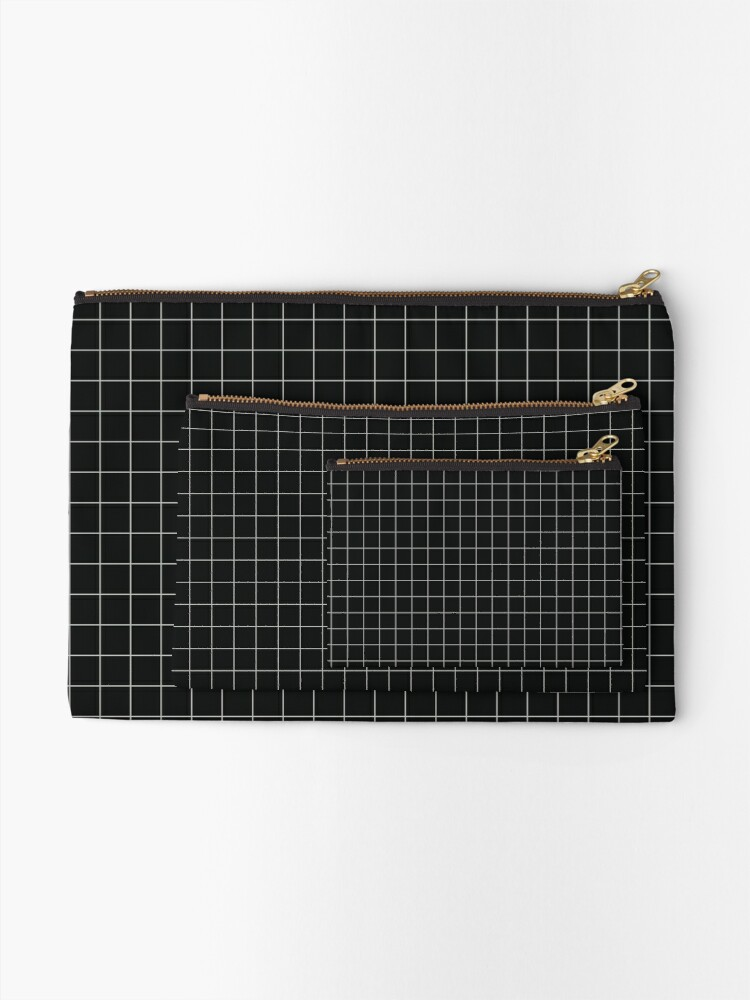 Alternate view of Aesthetic Grid - Black Zipper Pouch