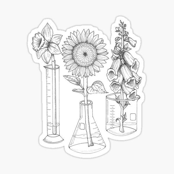 Flores y cristalería de laboratorio Pegatina brillante
