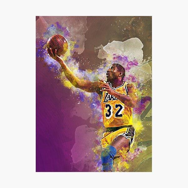 Magic Johnson Lakers Mischtechnik Fotodruck