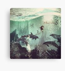The Sea Unicorn Lady Canvas Print
