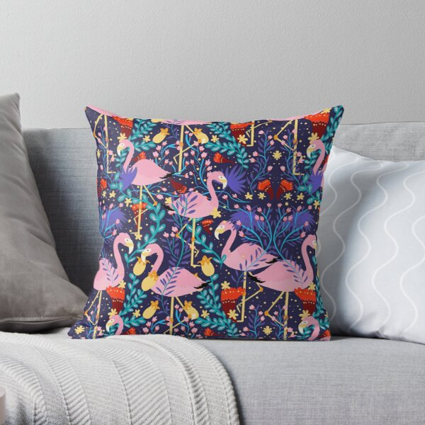 Flamingos in a forest  Throw Pillow