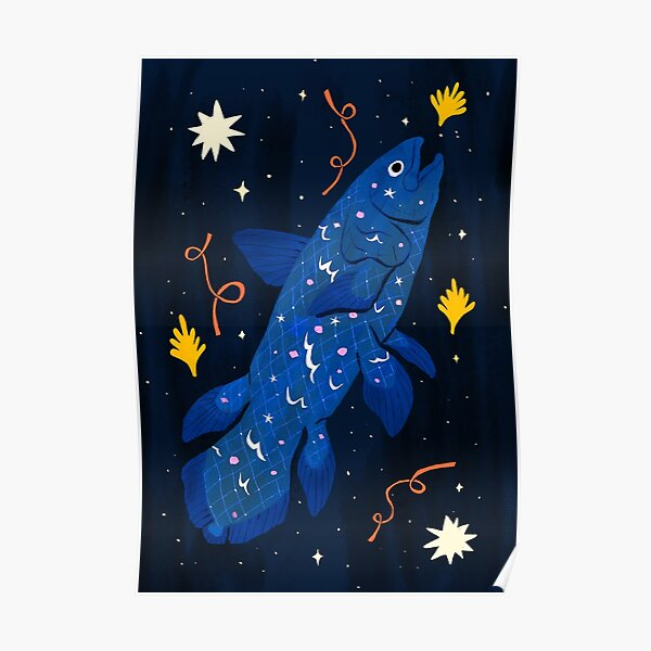Starry Coelacanth Poster