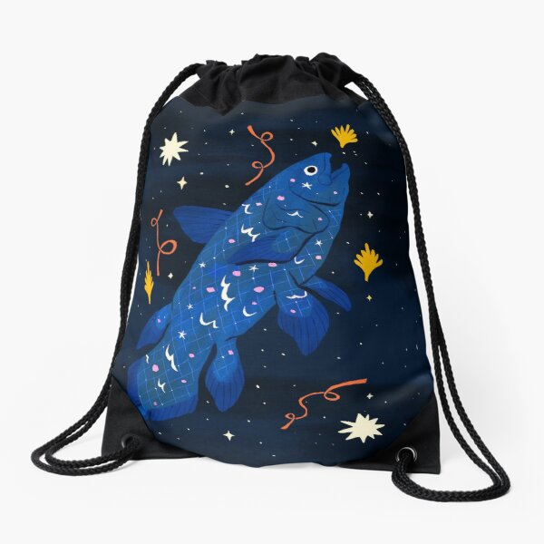 Starry Coelacanth Drawstring Bag