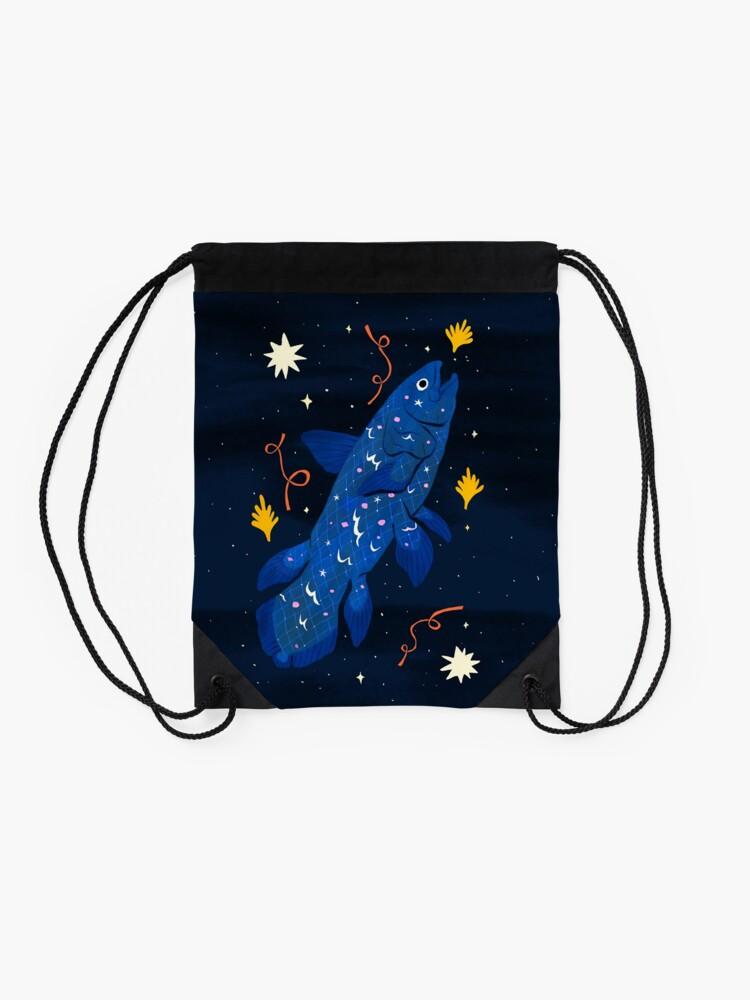 Alternate view of Starry Coelacanth Drawstring Bag