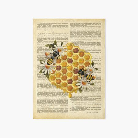 Botanical print, on old book page - Honeycomb and bees Art Board Print