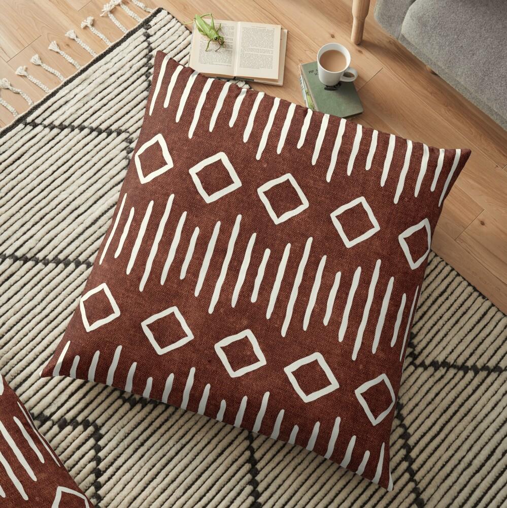 boho mudcloth in rust Floor Pillow