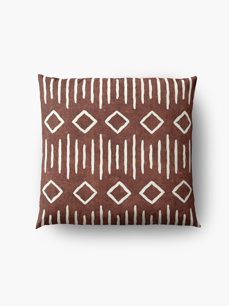 Alternate view of boho mudcloth in rust Floor Pillow