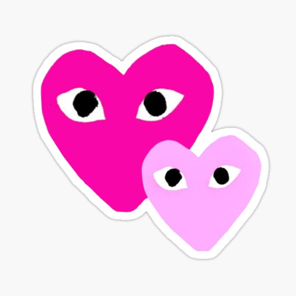Shades Of Pink Hearts With Eyes Sticker