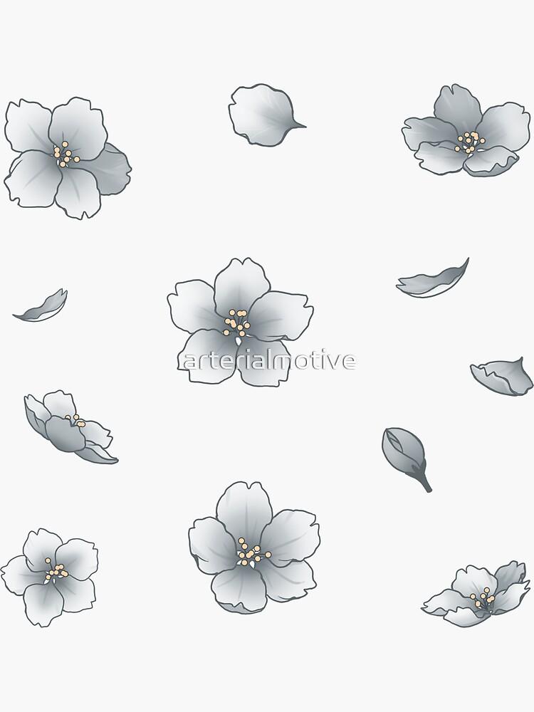 Caída Silver Sakura Cherry Blossom de arterialmotive