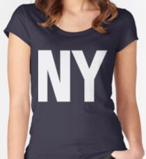 New York NY White Ink Women's Fitted Scoop T-Shirt
