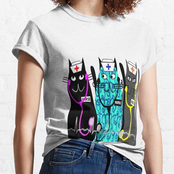 Whimsical Nurse Cats Classic T-Shirt