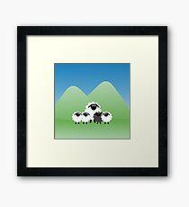 Cute Cartoon Sheep Family Framed Print