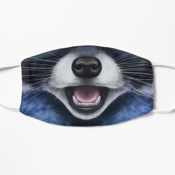 Blue Raccoon Face  Flat Mask